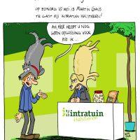 Cartoon voor Intratuin Halsteren over de komst van Martin Gaus.